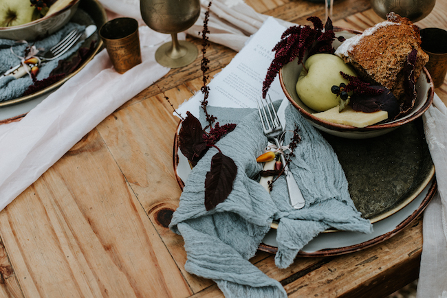 Organic and elegant autumnal wedding styling at River Cottage. Image credit Katy Jones Photography (6)