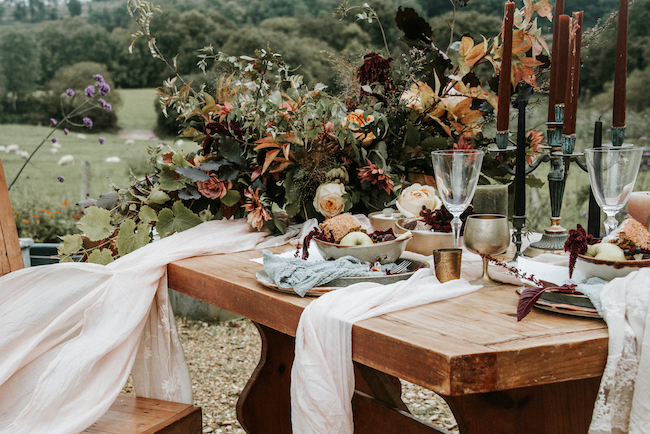 Organic and elegant autumnal wedding styling at River Cottage. Image credit Katy Jones Photography (7)