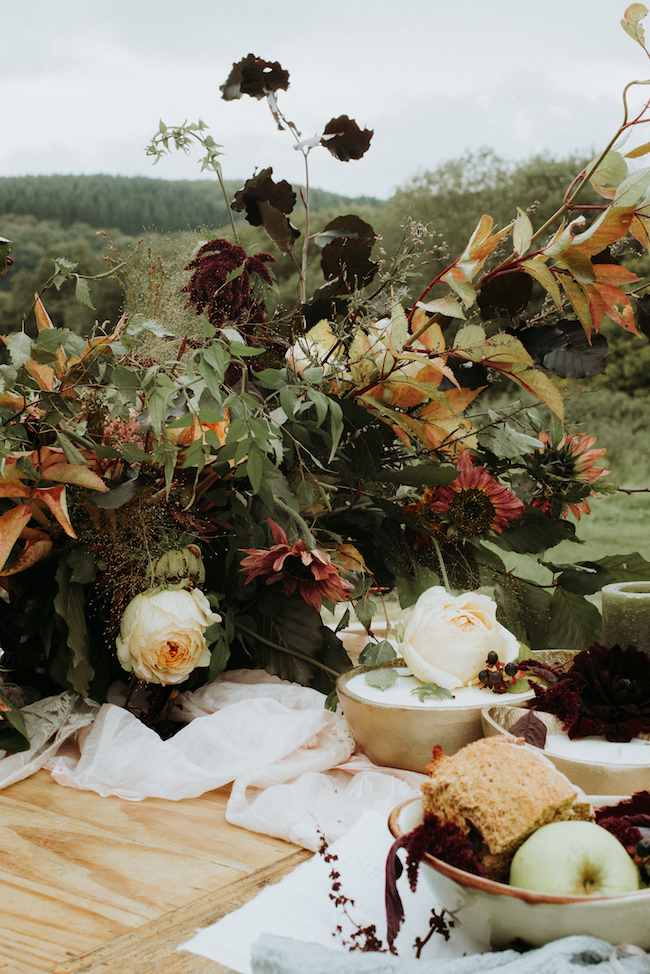 Organic and elegant autumnal wedding styling at River Cottage. Image credit Katy Jones Photography (14)