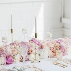 Blush and gold wedding table styling for an opulent summer celebration, with Amanda Karen Photography