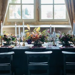 Dark and elegant wedding styling at Brympton, with Emma Barrow Photography