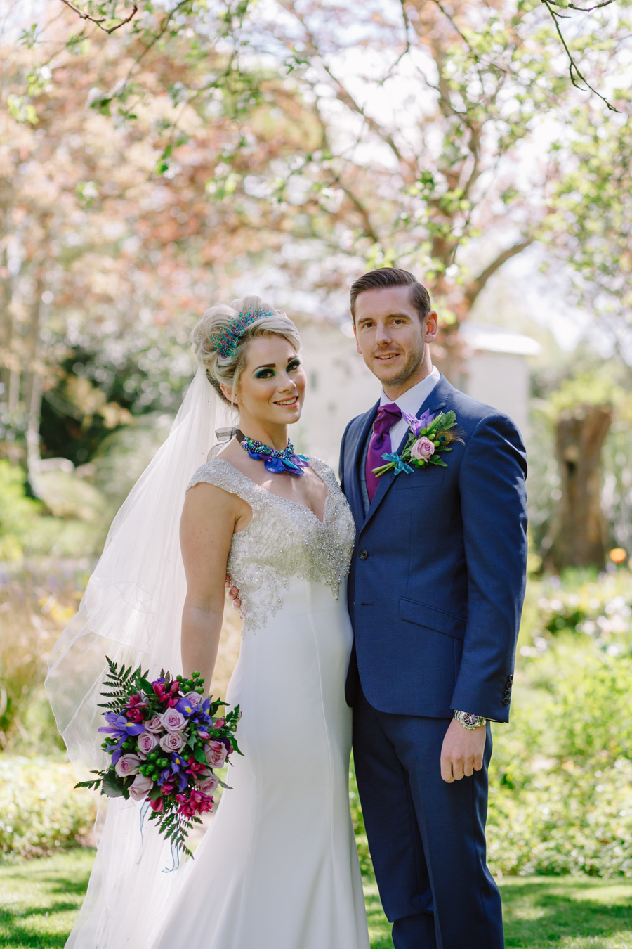 Teal and purple peacock wedding ideas by planner Karen Luxford, image by Sarah Wayte Photography (4)