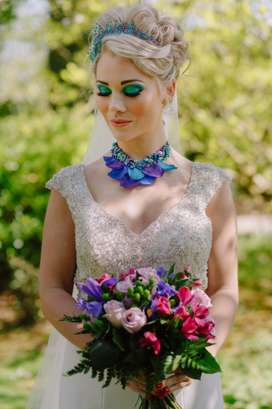 Teal and purple peacock wedding ideas by planner Karen Luxford, image by Sarah Wayte Photography (6)