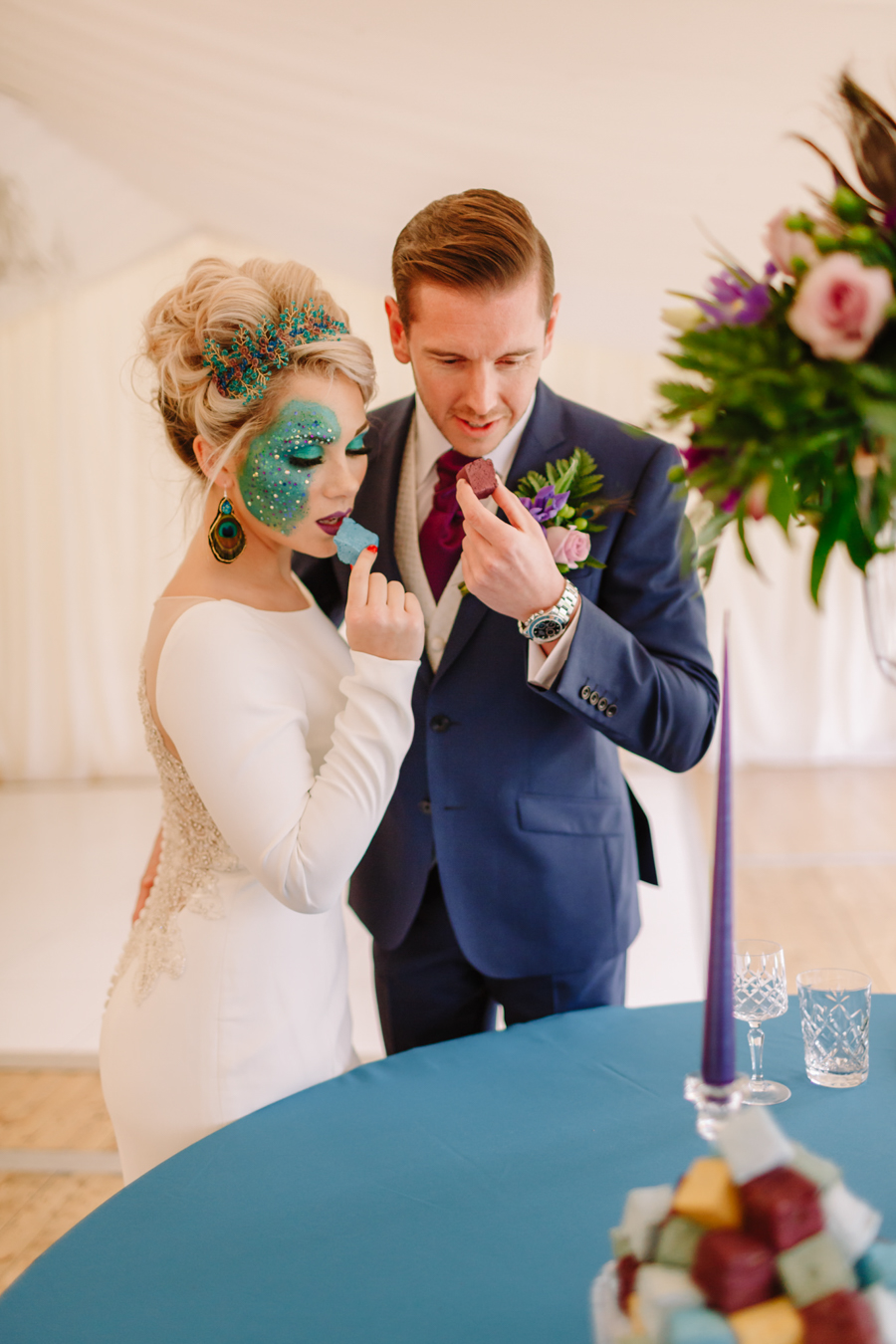 Teal and purple peacock wedding ideas by planner Karen Luxford, image by Sarah Wayte Photography (17)