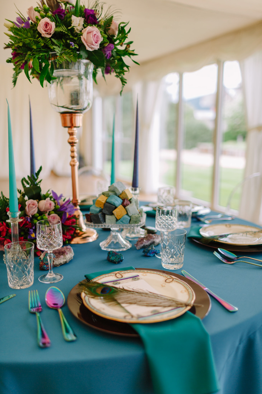 Teal and purple peacock wedding ideas by planner Karen Luxford, image by Sarah Wayte Photography (19)