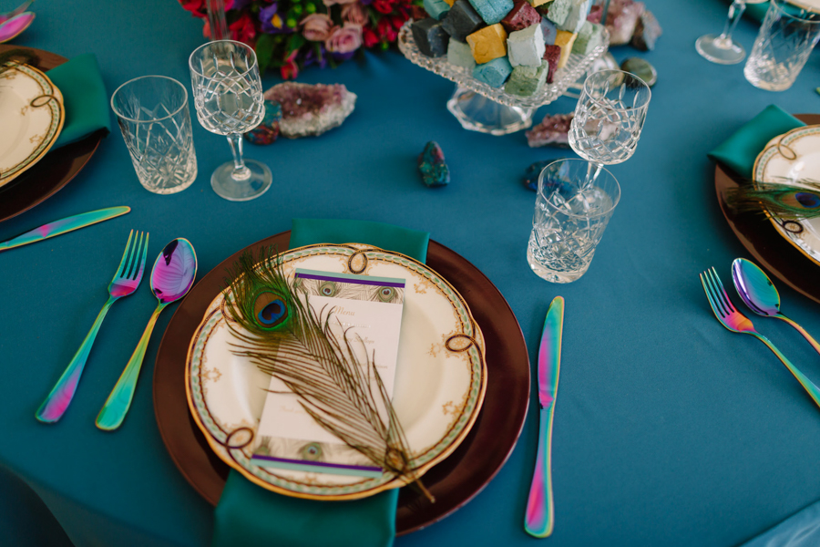 Teal and purple peacock wedding ideas by planner Karen Luxford, image by Sarah Wayte Photography (20)