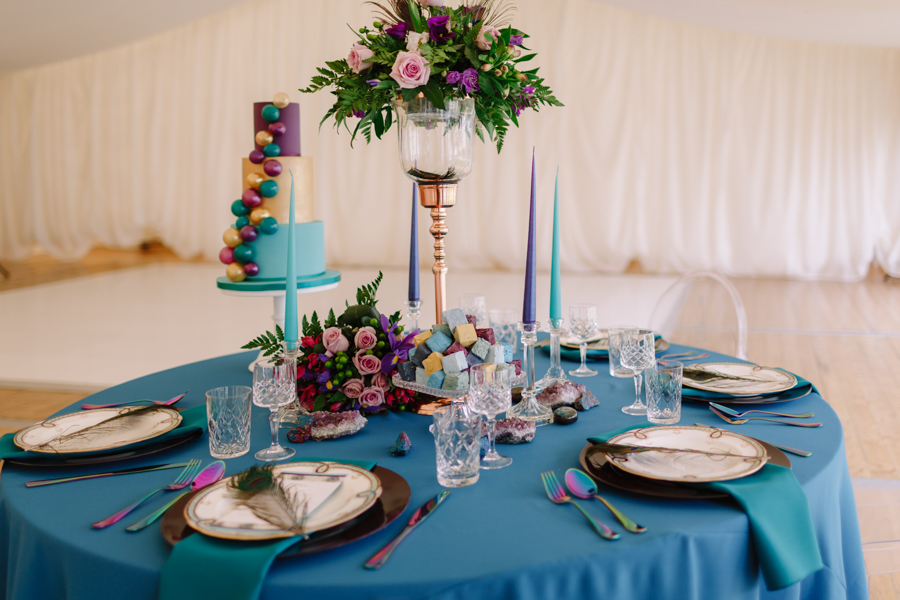 Teal and purple peacock wedding ideas by planner Karen Luxford, image by Sarah Wayte Photography (21)