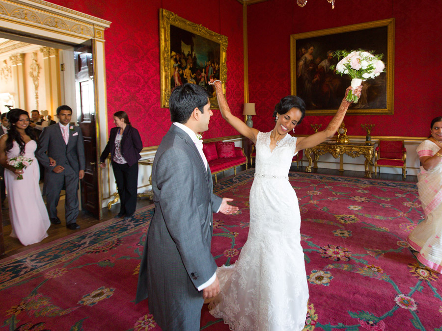 Glorious colour and beautiful gowns for a real wedding at Ragley Hall, images by Clive Blair Photography on the English Wedding Blog (18)