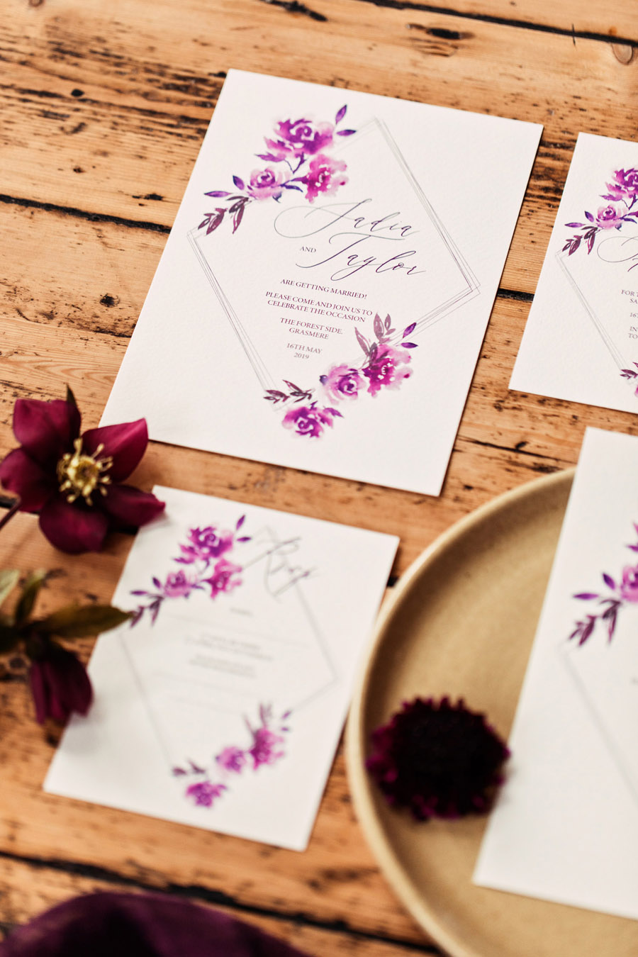 Purple wedding style inspiration with calligraphy By Moon and Tide, photo credit Camilla Lucinda Photography (13)