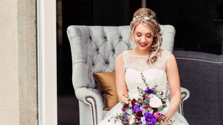 Purple wedding style inspiration with calligraphy By Moon and Tide, photo credit Camilla Lucinda Photography (2)