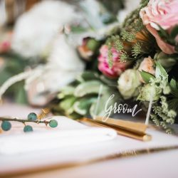 Opulent wedding styling in blush and gold, from The Barns at Redcoats