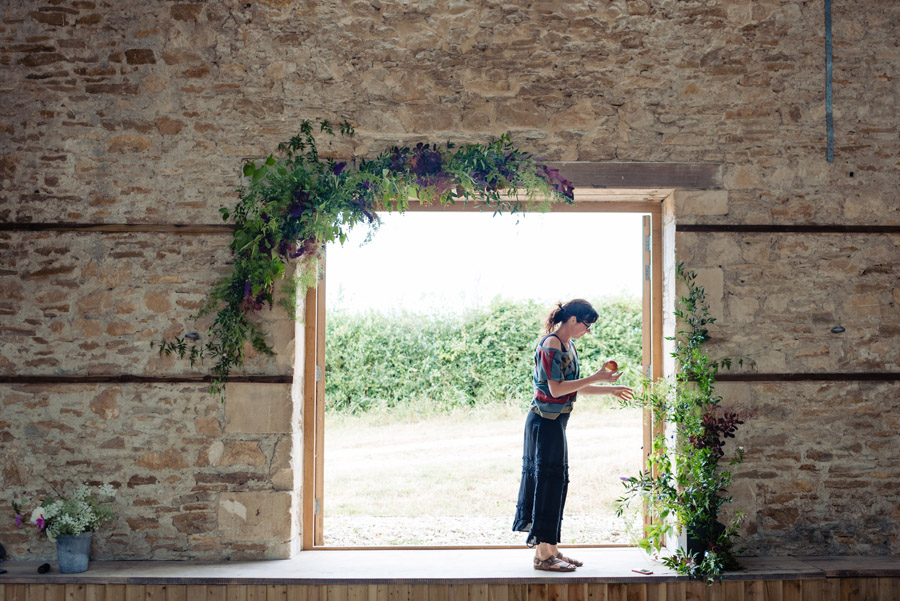 The Old Barn, Kelston - behind the scenes wedding flower styling - photo by Martin Pemberton (9)