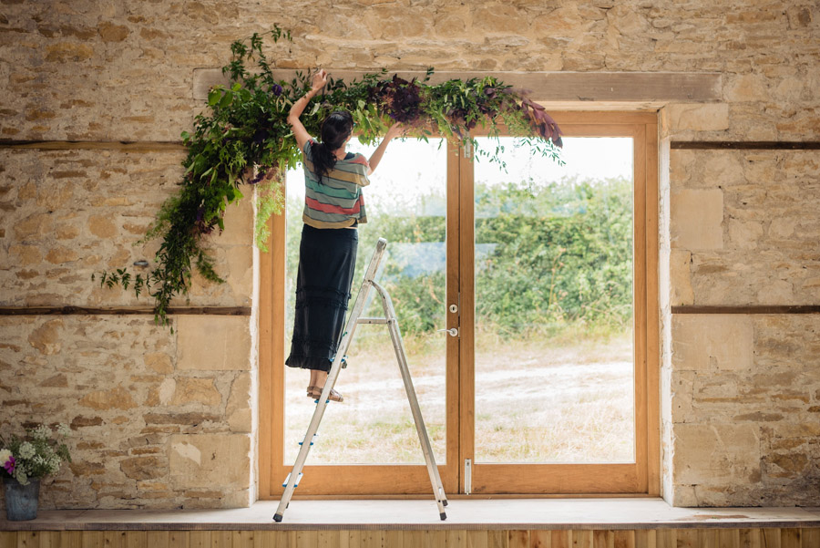 The Old Barn, Kelston - behind the scenes wedding flower styling - photo by Martin Pemberton (21)