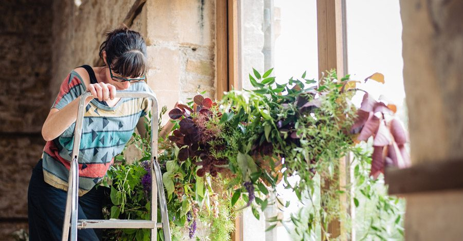 The Old Barn, Kelston - behind the scenes wedding flower styling - photo by Martin Pemberton (22)
