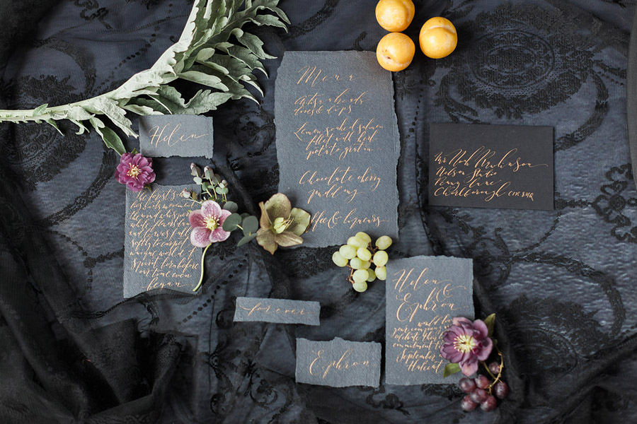 Dark Floral wedding ideas, alternative wedding styling, photo credit Jo Bradbury (2)