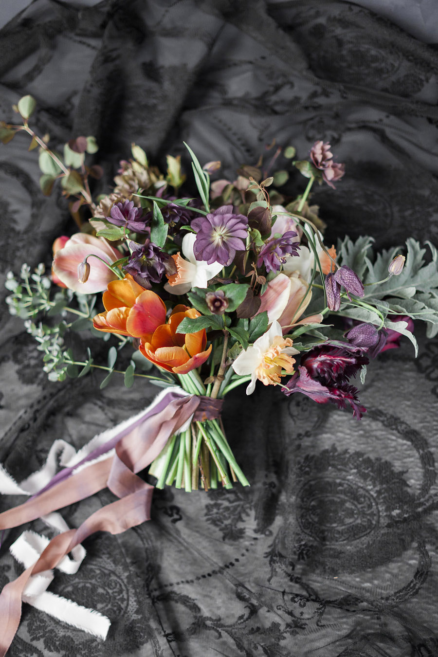 Dark Floral wedding ideas, alternative wedding styling, photo credit Jo Bradbury (15)