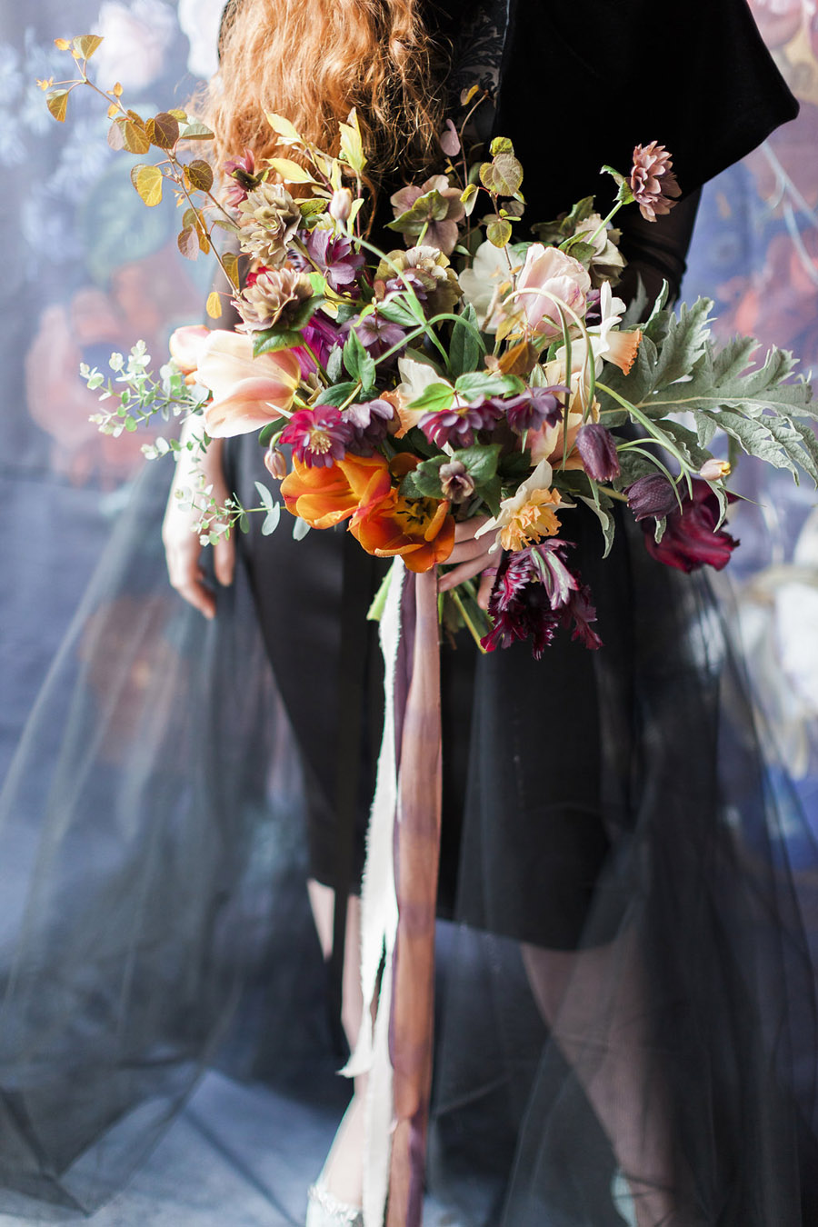 Dark Floral wedding ideas, alternative wedding styling, photo credit Jo Bradbury (20)