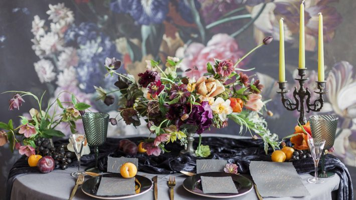 Dark Floral wedding ideas, alternative wedding styling, photo credit Jo Bradbury (31)