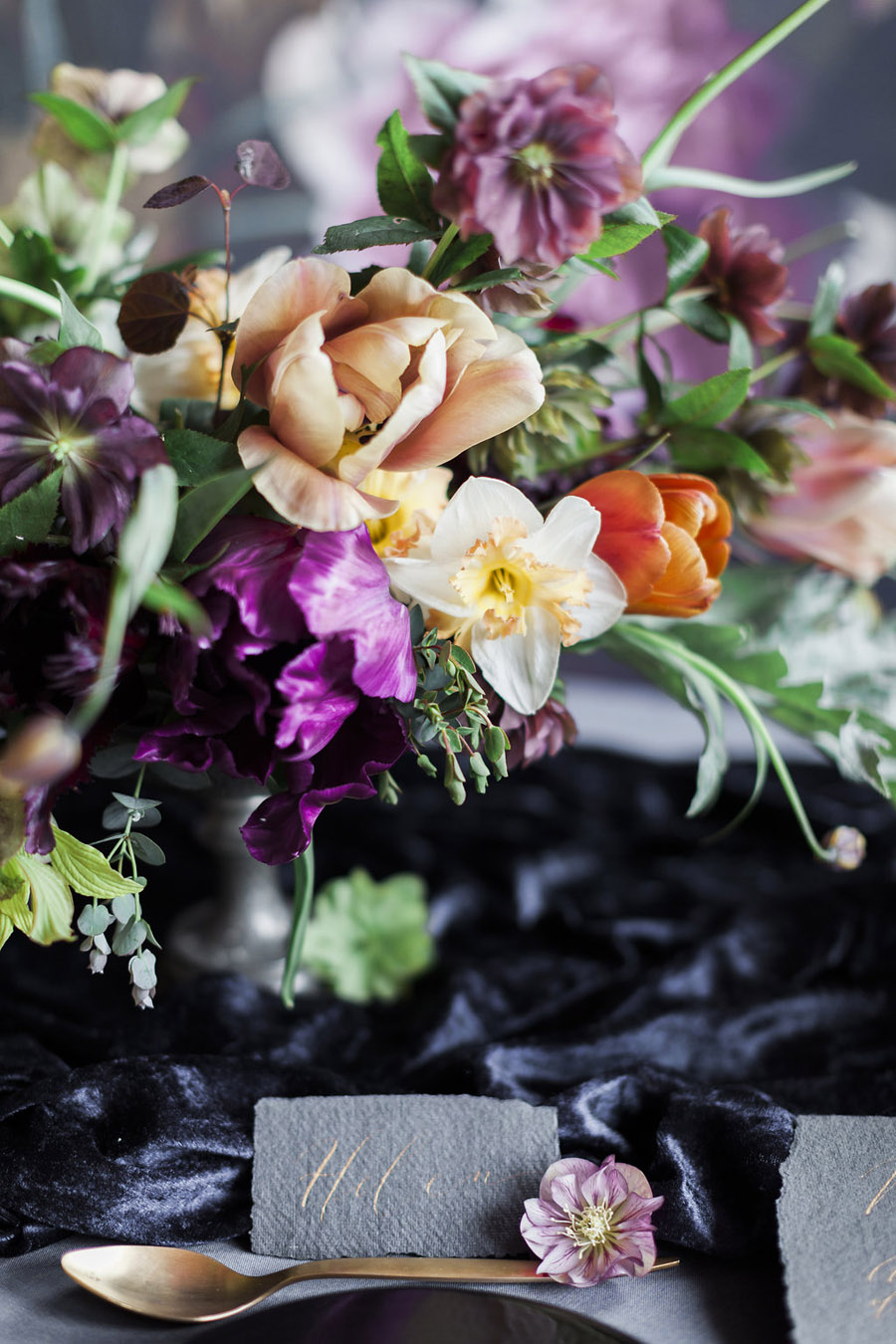 Dark Floral wedding ideas, alternative wedding styling, photo credit Jo Bradbury (32)