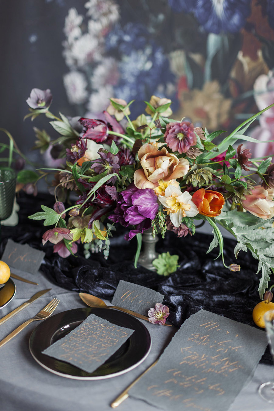 Dark Floral wedding ideas, alternative wedding styling, photo credit Jo Bradbury (34)