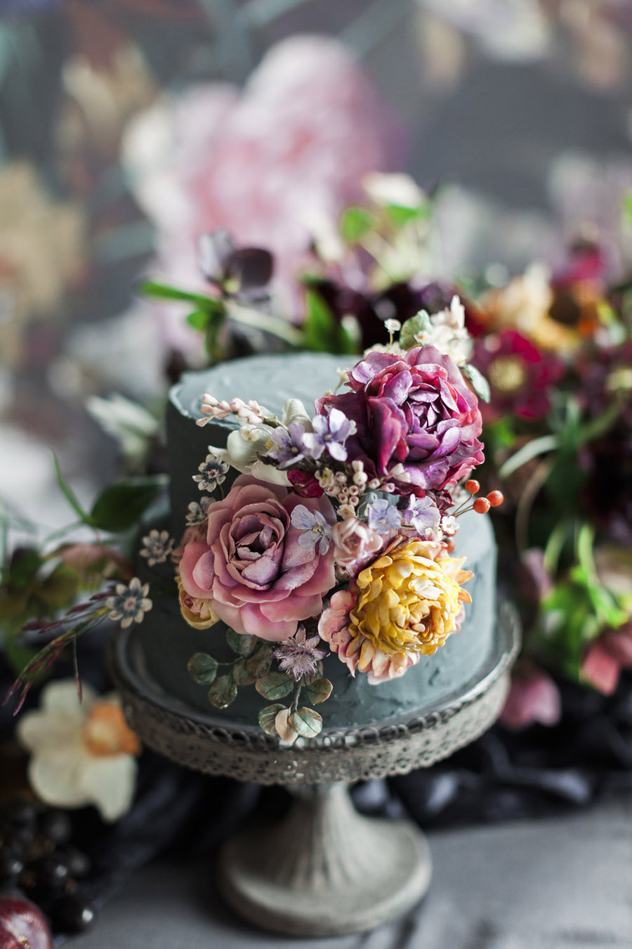 Dark Floral wedding ideas, alternative wedding styling, photo credit Jo Bradbury (35)