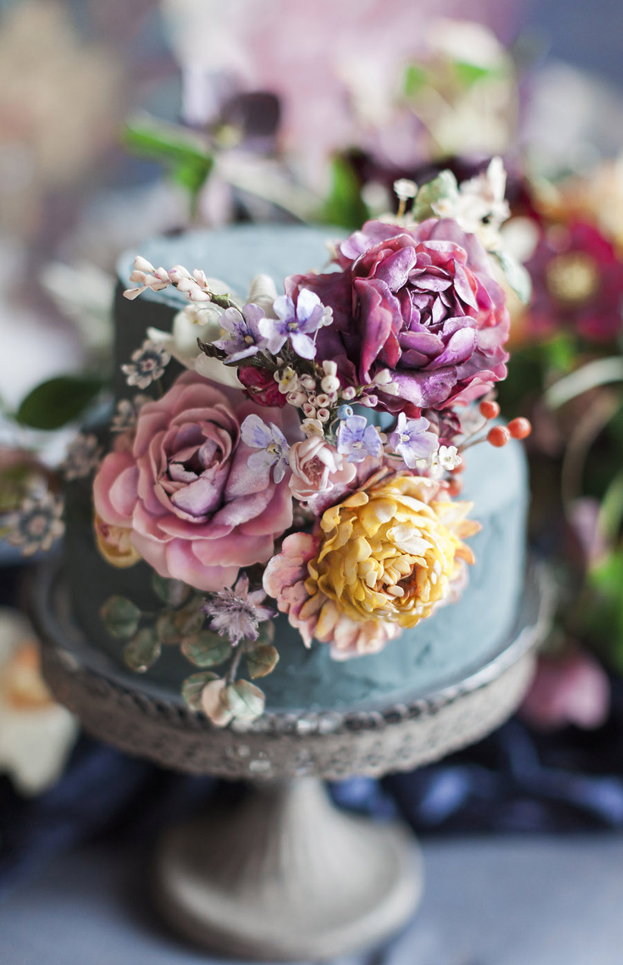 Dark Floral wedding ideas, alternative wedding styling, photo credit Jo Bradbury (36)