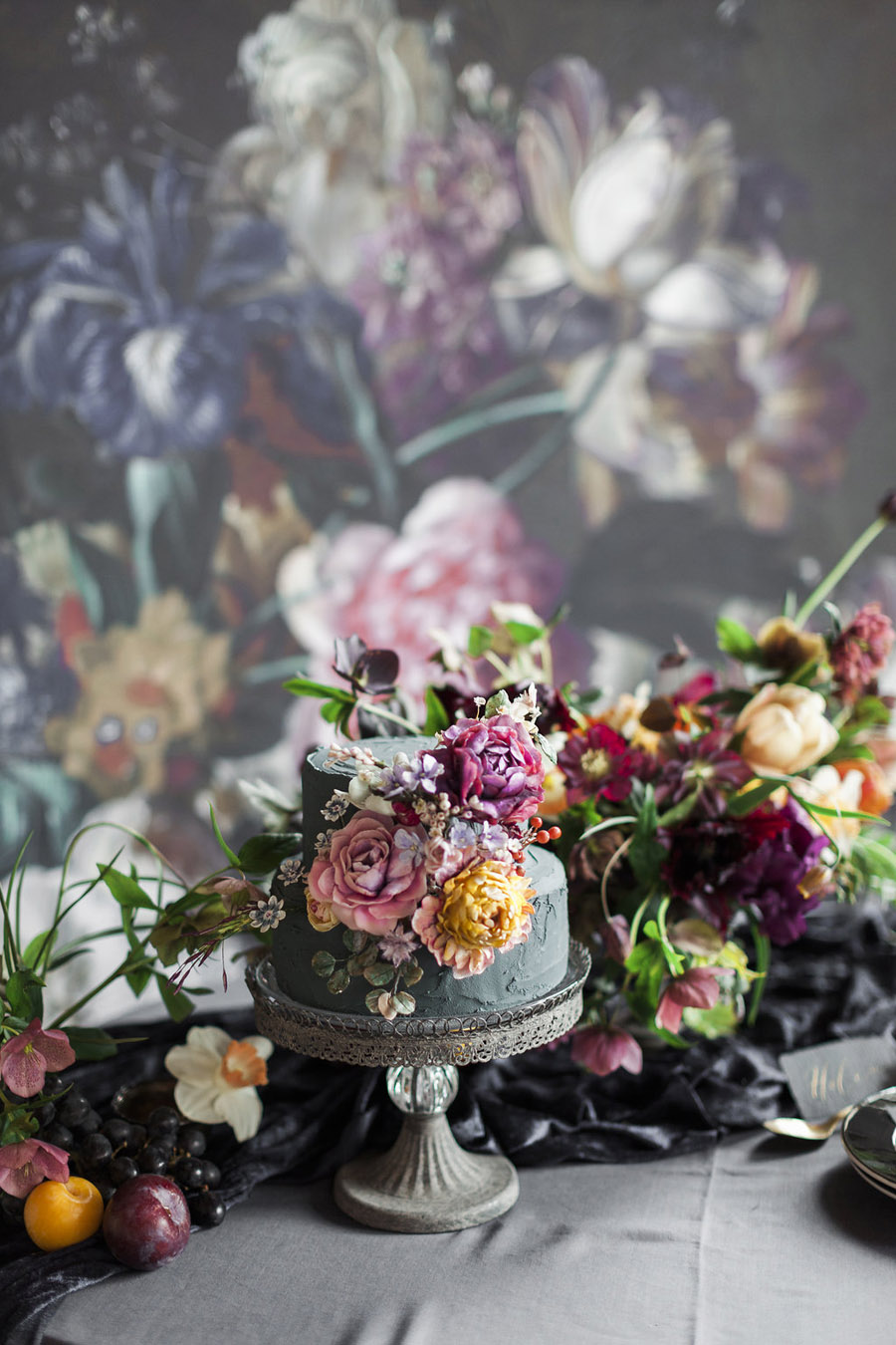 Dark Floral wedding ideas, alternative wedding styling, photo credit Jo Bradbury (37)