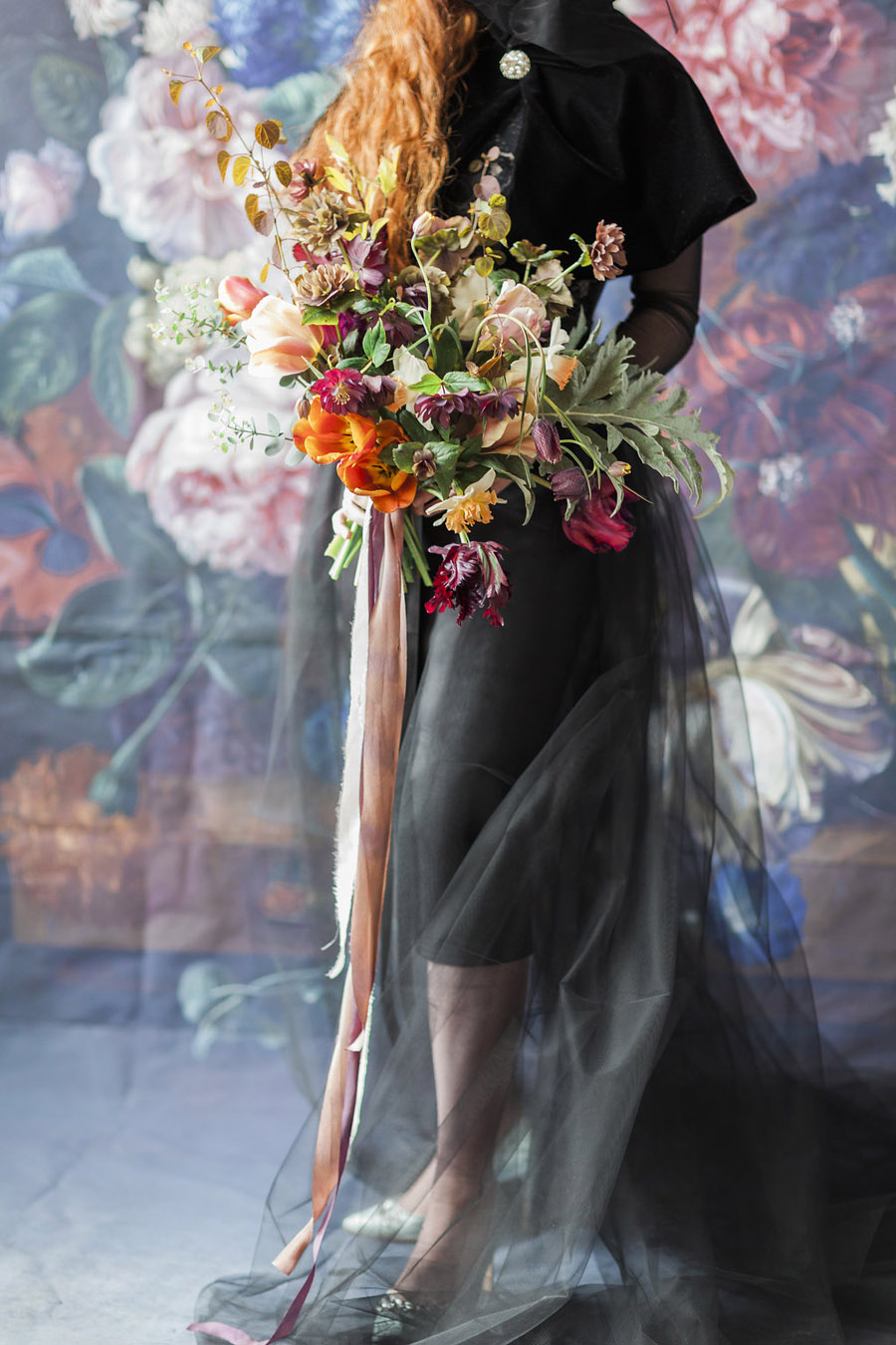 Dark Floral wedding ideas, alternative wedding styling, photo credit Jo Bradbury (40)