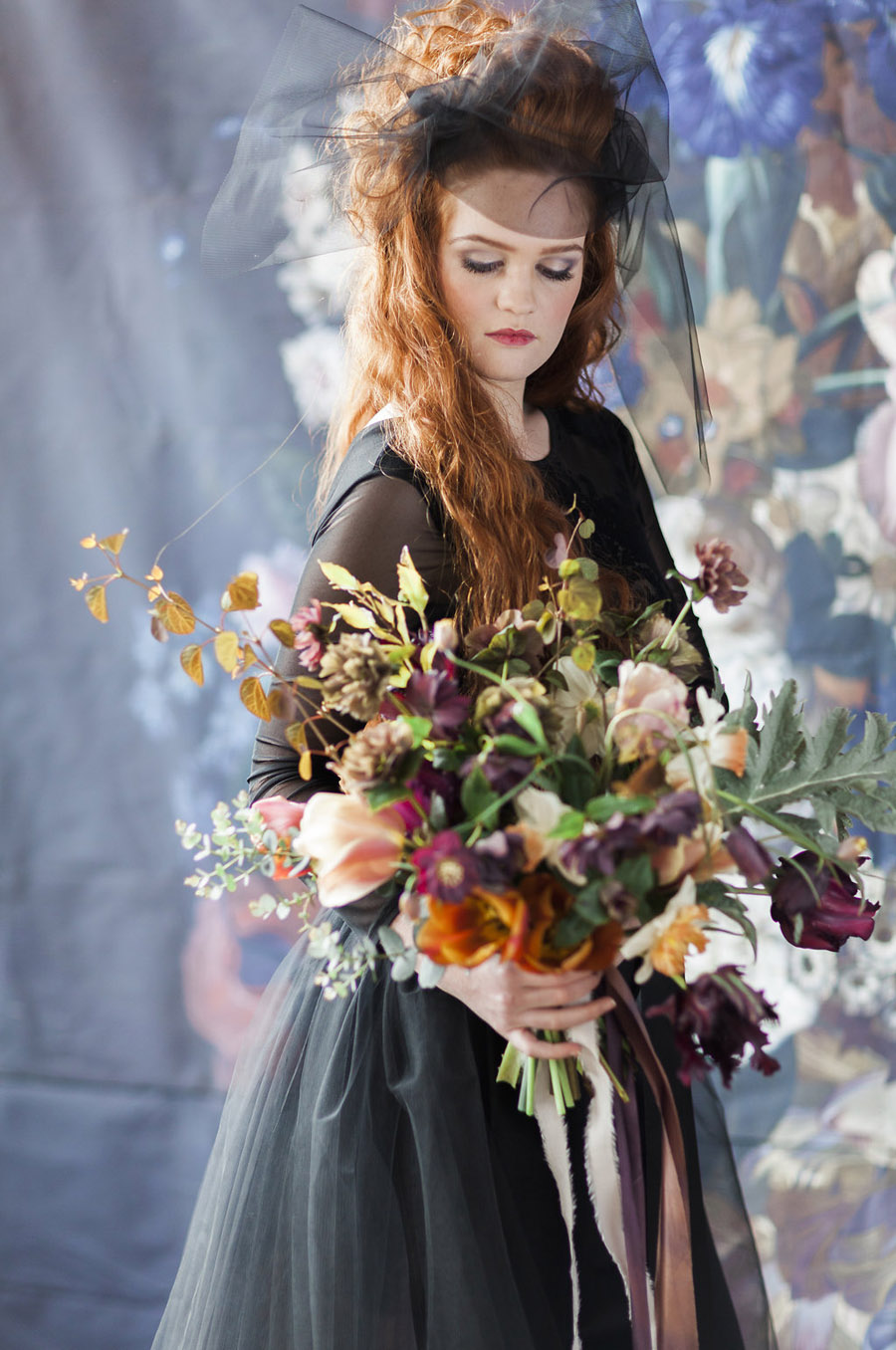 Dark Floral wedding ideas, alternative wedding styling, photo credit Jo Bradbury (43)