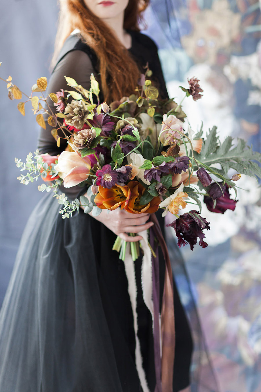 Dark Floral wedding ideas, alternative wedding styling, photo credit Jo Bradbury (44)