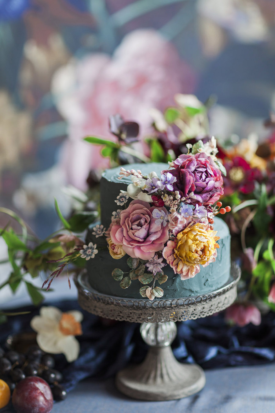Dark Floral wedding ideas, alternative wedding styling, photo credit Jo Bradbury (46)