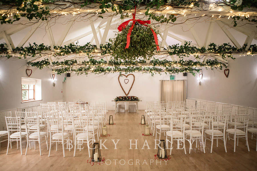 A massive ball of mistletoe for a beautifully styled, elegant winter wedding. Images by Becky Harley Photography (28)