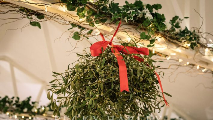 A massive ball of mistletoe for a beautifully styled, elegant winter wedding. Images by Becky Harley Photography (18)
