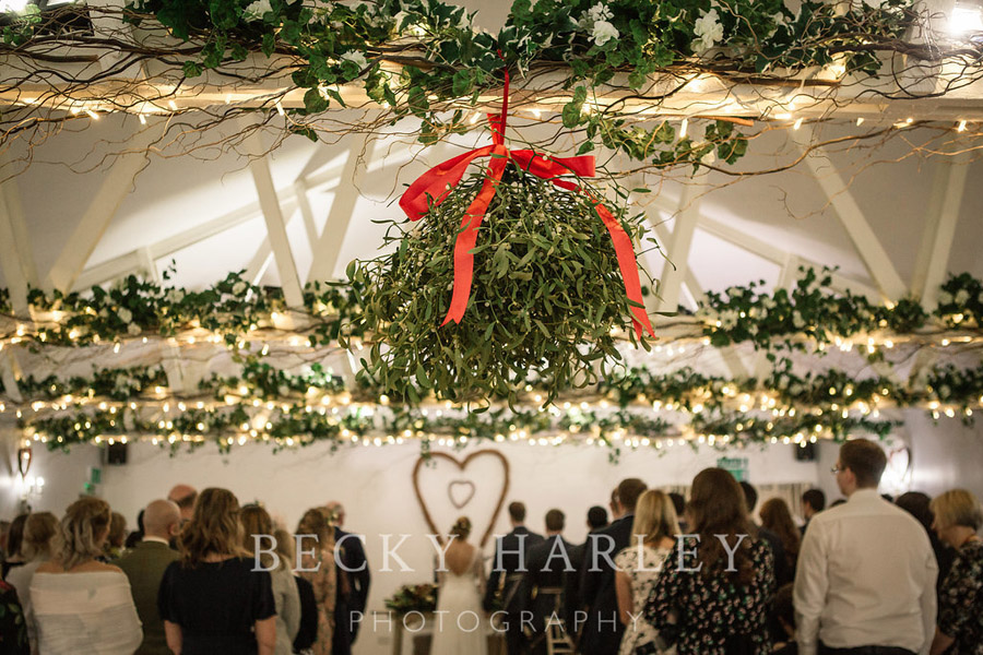 A massive ball of mistletoe for a beautifully styled, elegant winter wedding. Images by Becky Harley Photography (49)