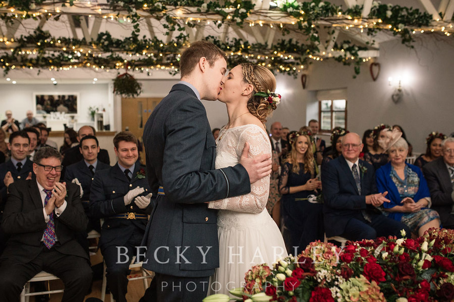 A massive ball of mistletoe for a beautifully styled, elegant winter wedding. Images by Becky Harley Photography (46)