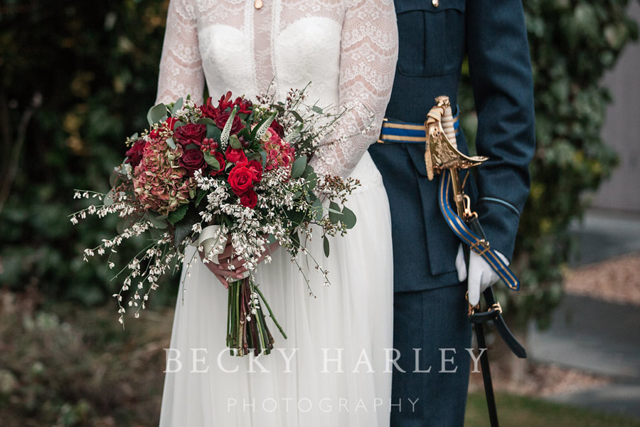 A massive ball of mistletoe for a beautifully styled, elegant winter wedding. Images by Becky Harley Photography (23)