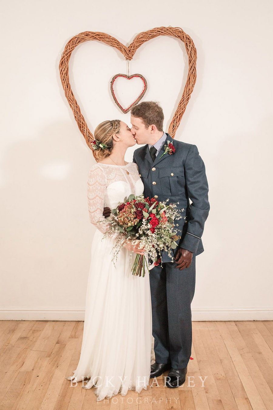 A massive ball of mistletoe for a beautifully styled, elegant winter wedding. Images by Becky Harley Photography (41)
