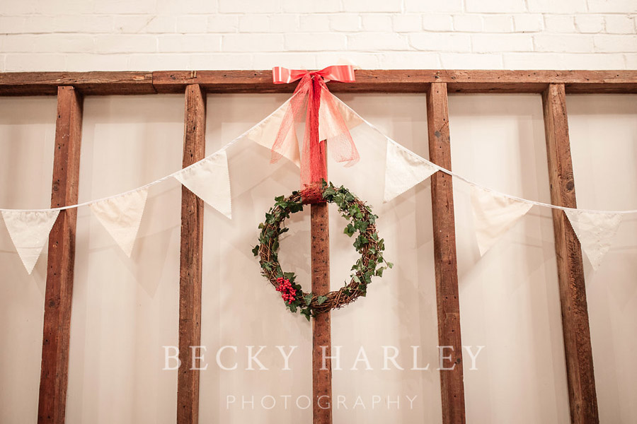 A massive ball of mistletoe for a beautifully styled, elegant winter wedding. Images by Becky Harley Photography (7)
