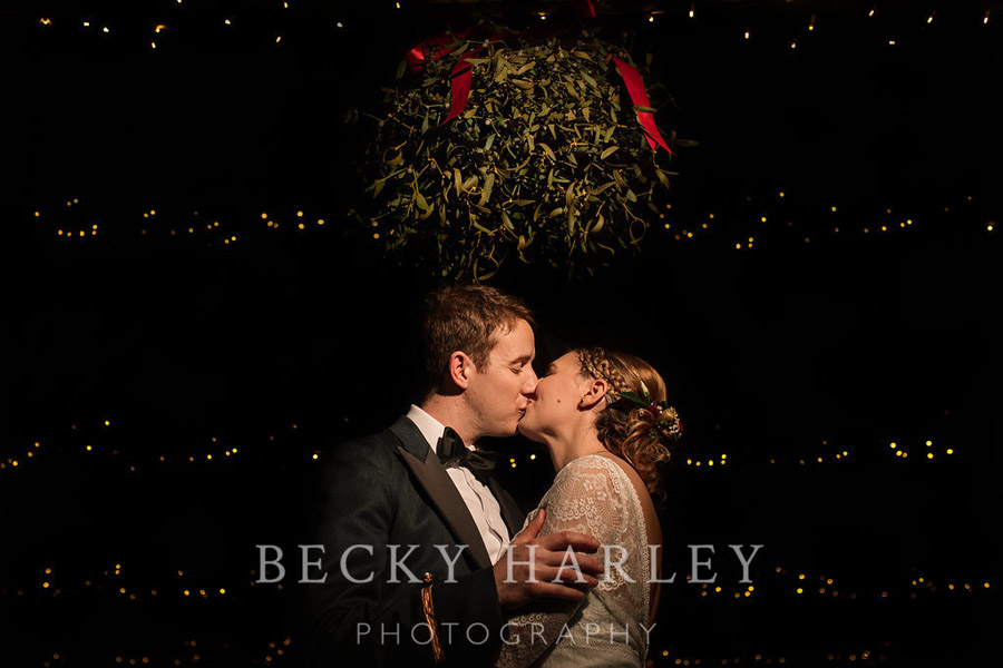 A massive ball of mistletoe for a beautifully styled, elegant winter wedding. Images by Becky Harley Photography (12)