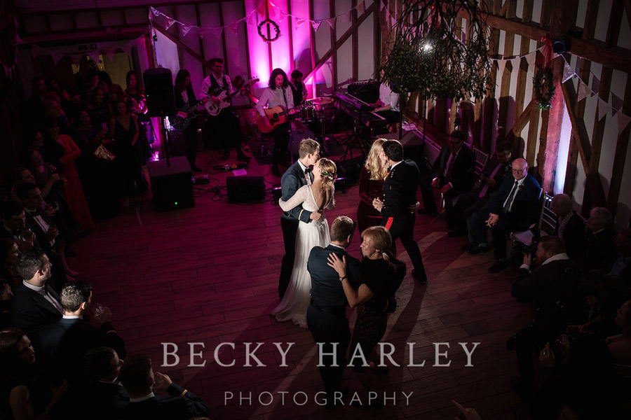 A massive ball of mistletoe for a beautifully styled, elegant winter wedding. Images by Becky Harley Photography (22)