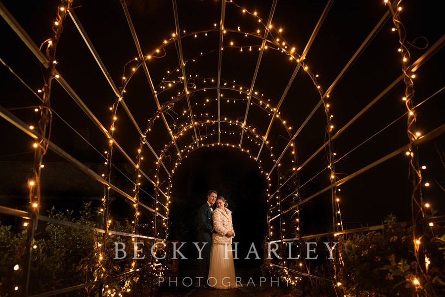 A massive ball of mistletoe for a beautifully styled, elegant winter wedding. Images by Becky Harley Photography (53)