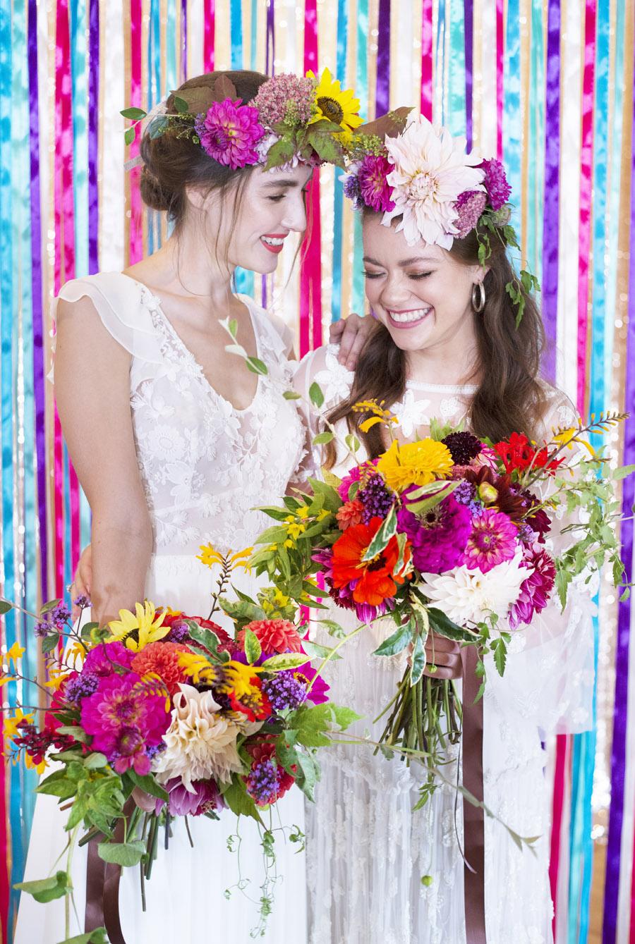 Same sex wedding styling boho chic festival inspiration - image credit Emma Hall Photography (7)