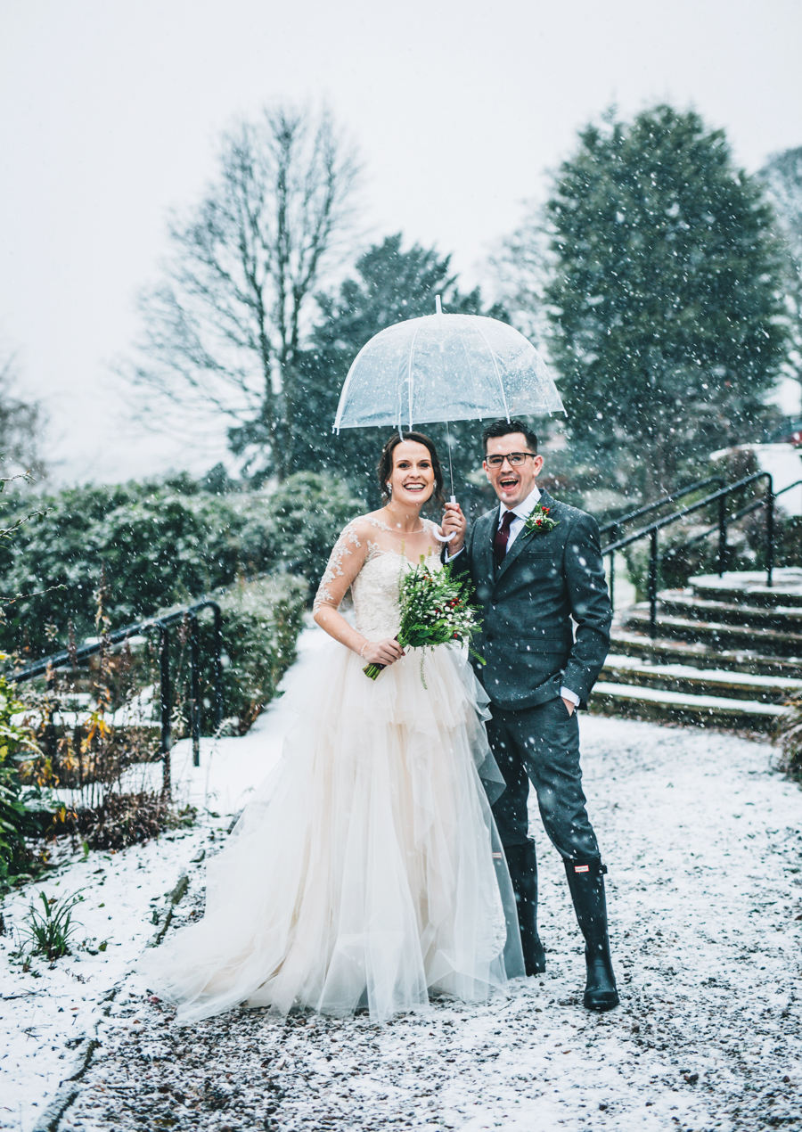 A gorgeous snowy wedding at Higher Trapp Country House Hotel with Rachel Joyce Photography (1)