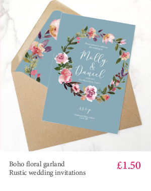 Rustic blue boho garland floral wedding invitation with extra inserts and white or kraft envelopes