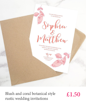 Blush and coral wedding invitation with white or kraft envelope and optional envelope liner