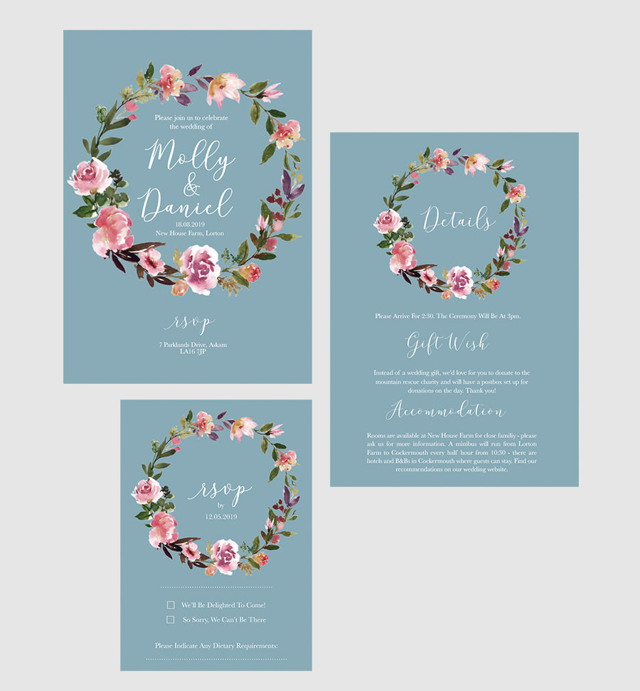 boho blue wedding invitations garland floral