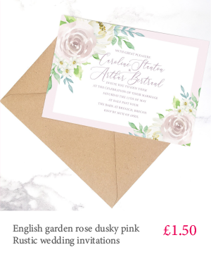 English garden rose dusty pink floral rustic wedding invitation