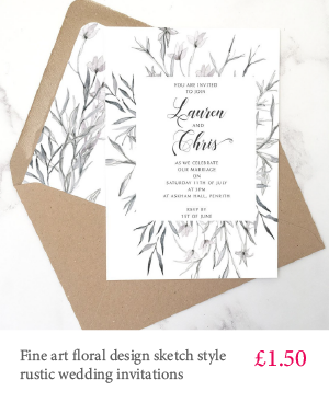 Fine art floral design cheap wedding invitation with white or kraft envelope