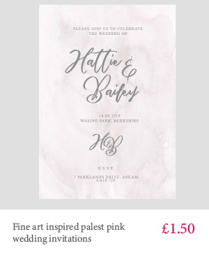 Fine art style wedding invitation in palest pink with white or kraft envelope and grey lettering
