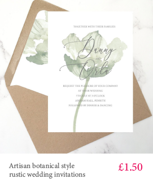 Ghost flower - soft, subtle botanical wedding invitations with white or kraft envelope and matching extras